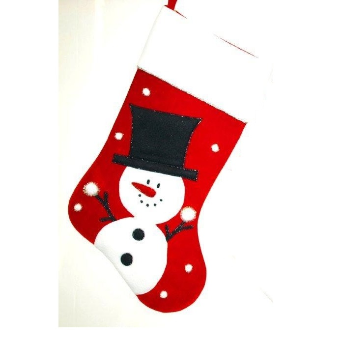 Red, White and Black Velvet Stocking with Snowman - Personalizable