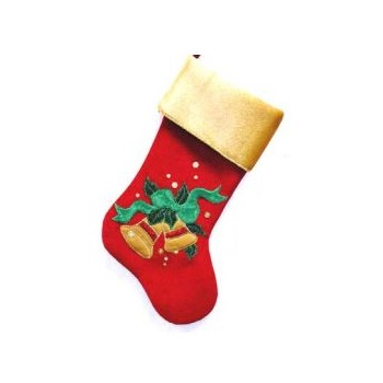Red and Gold Velvet Stocking with Bells - Personalizable