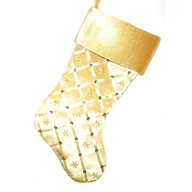 Gold Satin Stocking with Ribbon Design - Personalizable