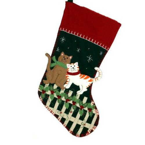Embroidered Cats on Fence Stocking - Personalizable