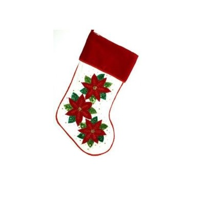 Red and White Velvet Stocking with Poinsettias - Personalizable
