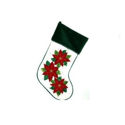 Green and White Velvet Stocking with Poinsettias - Personalizable