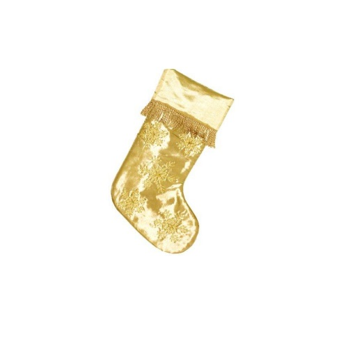Gold Poly Stocking with Snowflake Design and Fringe - Personalizable