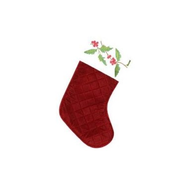 Burgandy Quilt-Look Stocking with Holly Design - Personalization