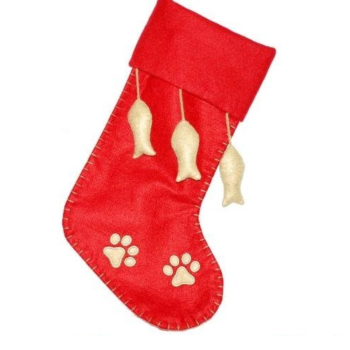 Red and Tan Pet Stocking with Non-Woven Fish - Personalizable