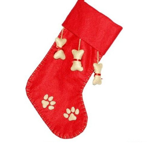 Red and Tan Pet Stocking with Non-Woven Bones - Personalizable