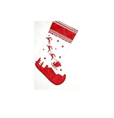 Red Non-Woven Stocking with White Santa and 8 Reindeer - Personalizable