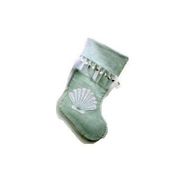 Sea Aqua Linen Stocking with Shell Design