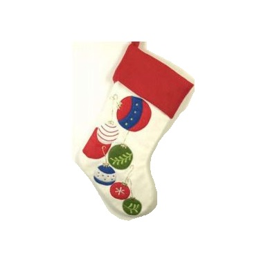 Red and Cream Felt Stocking Embroidered with Ornaments - Personalizable