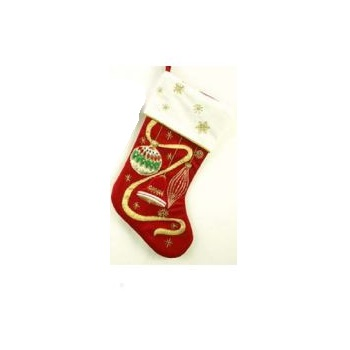 Red and Cream Stocking with Embroidered Ornament and Ribbon