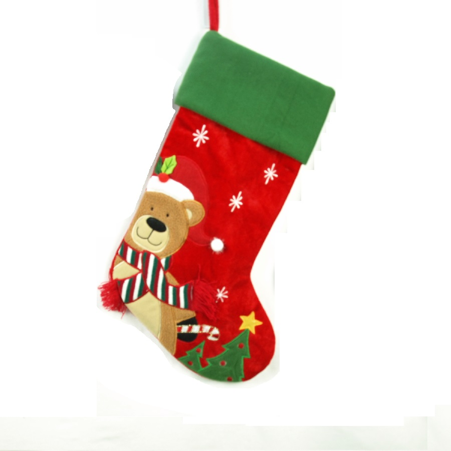 Red and Green Velvet Embroidered Stocking with Teddy Bear - Personalizable