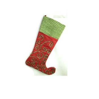 Red Silk Stocking with Green Rope Design