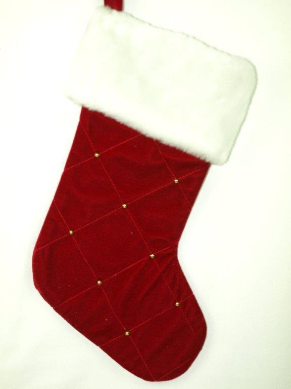 Burgandy Velvet Beaded Stocking with Plush Cuff - Personalizable