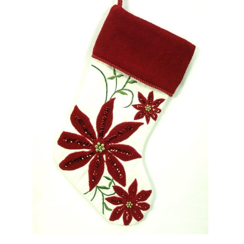 Cream and Burgandy Cotton Stocking with Poinsettias - Personalizable