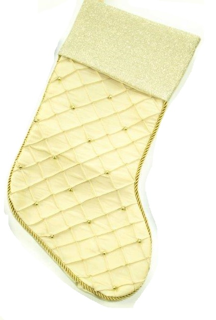 Gold Satin Stocking with Beads and Shimmer Cuff - Personalizable
