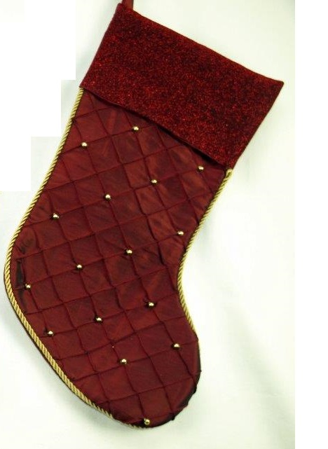 Burgandy Satin Stocking with Beads and Shimmer Cuff - Personalizable