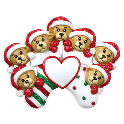 Seven Bears Clinging to Stocking Ornament - Personalizable