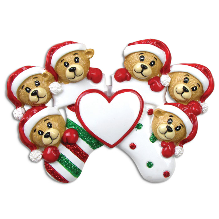 Six Bears Clinging to Stocking Ornament - Personalizable
