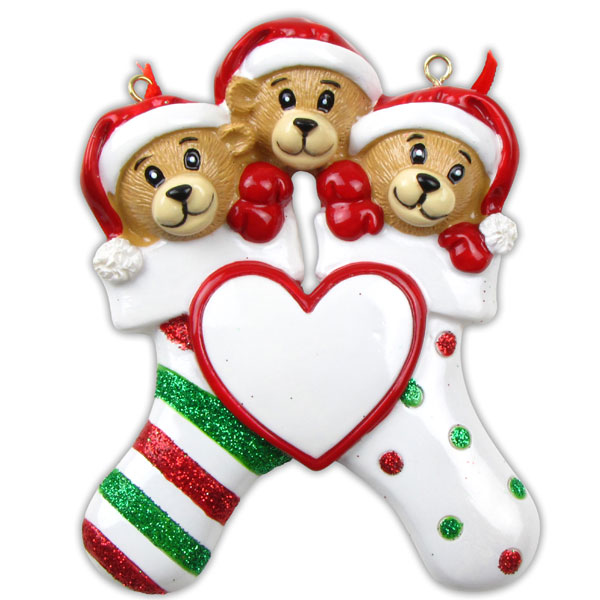 Three Bears Clinging to Stocking Ornament - Personalizable