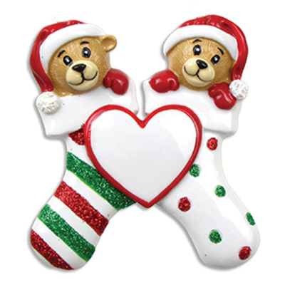 Two Bears Clinging to Stocking Ornament - Personalizable